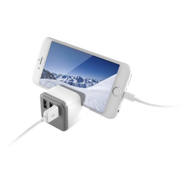 KSIX 3 PORTS USB WALL CHARGER 3.4A WITH HOLDER white KSIX 3 PORTS USB WALL CHARGER 3.4A WITH HOLDER white 1