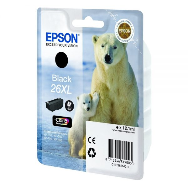 Epson Μελάνι Inkjet No.26 XL Black (C13T26214012) (EPST262140) 0004957 epson inkjet no26 xl black c13t26214012 epst262140 1
