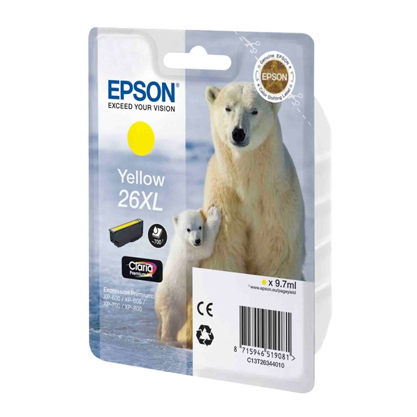 Epson Μελάνι Inkjet No.26 XL Yellow (C13T26344012) (EPST263440) 0004961 epson inkjet no26 xl yellow c13t26344012 epst263440 1