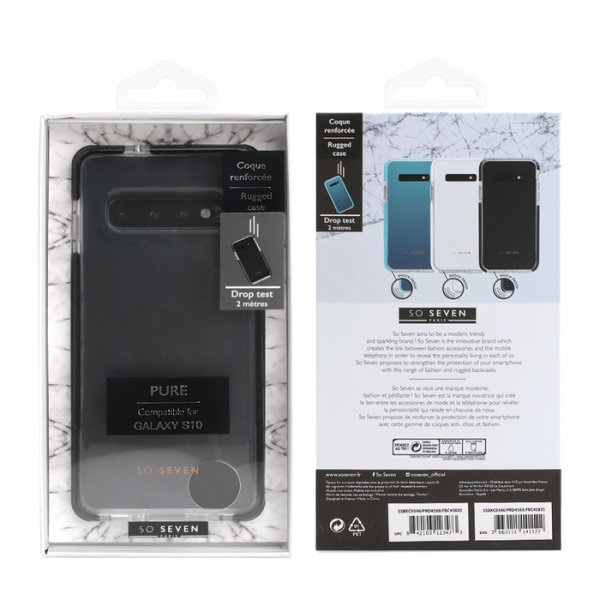 SO SEVEN RUGGED CASE PURE SAMSUNG S10 black backcover