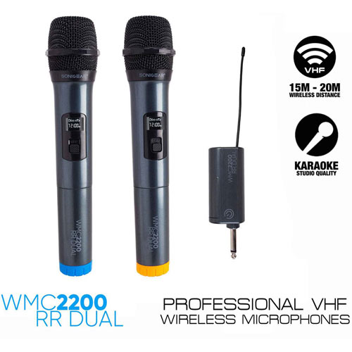SONICGEAR WMC 2200RR DUAL WIRELESS MICROPHONES WITH RECEIVER