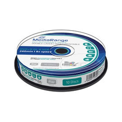 MediaRange DVD+R Dual Layer 240' 8.5GB 8x Inkjet fullsurface printable Cake Box x 10 (MR468)