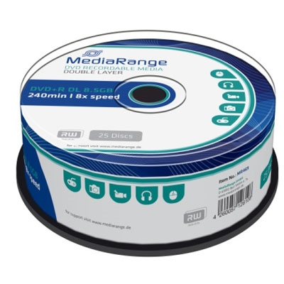 MediaRange DVD+R Dual Layer 240' 8.5GB 8x Cake Box x 25 (MR469)