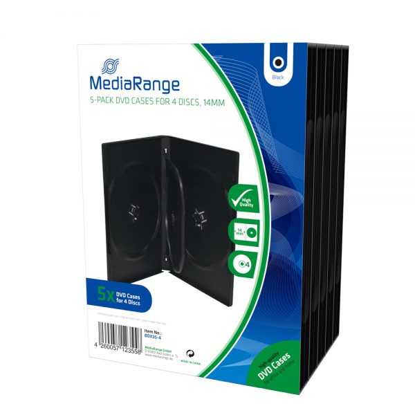 MediaRange DVD Case for 4 discs 14mm Black Pack 5 (MRBOX35-4)