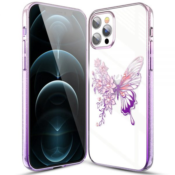 Kingxbar Butterfly Series shiny case decorated with original Swarovski crystals iPhone 12 Pro / iPhone 12 pink