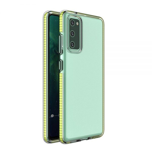 Spring Case clear TPU gel protective cover with colorful frame for Samsung Galaxy A72 4G yellow