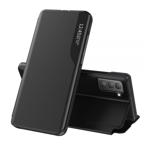 Eco Leather View Case elegant bookcase type case with kickstand for Samsung Galaxy S21 FE black