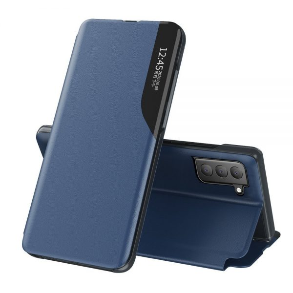 Eco Leather View Case elegant bookcase type case with kickstand for Samsung Galaxy S21 FE blue