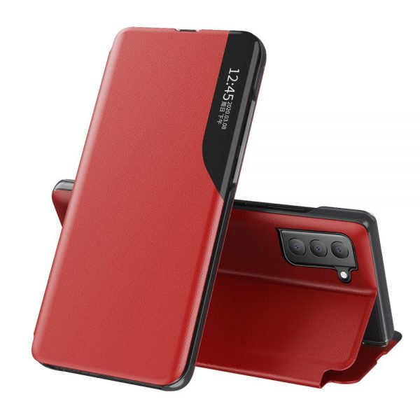 Eco Leather View Case elegant bookcase type case with kickstand for Samsung Galaxy S21 FE red