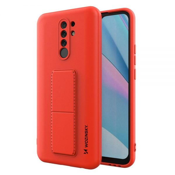 Wozinsky Kickstand Case flexible silicone cover with a stand Xiaomi Redmi 9 red