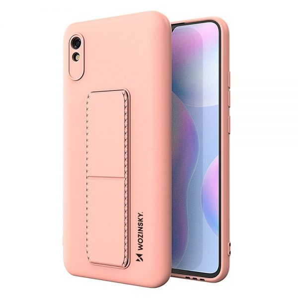 Wozinsky Kickstand Case flexible silicone cover with a stand Xiaomi Redmi 9A pink