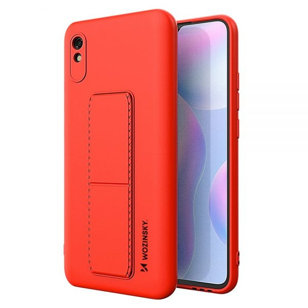 Wozinsky Kickstand Case flexible silicone cover with a stand Xiaomi Redmi 9A red